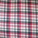 1 yard - Red, green, white medium plaid homespun fabric