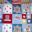 1 yard - Patriotic sparkle squares - Fabric with stars, flags, hats, hearts all over