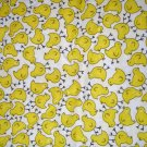 1 yard - Yellow chicks all over white fabric - Easter or spring print