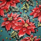 1 yard - Retro look poinsettias on medium green fabric