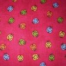1 yard - Debbie Mumm - Ladybugs on hot pink-red - Lady bugs fabric