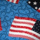 1 yard - Large flags on bright blue fabric