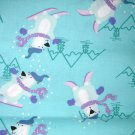 1 yard - Bears skiing on aqua fabric - Blue, white, purple