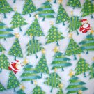 1.5 yard - Santa hiding in trees - Light blue fabric, green, red, yellow