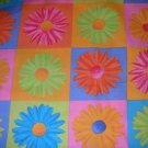 1 yard - Daisy Kingdom - Gerber Daisy in square fabric print - pink, blue, green, orange