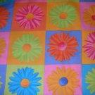 1 yard - Daisy Kingdom - Gerber Daisy in square fabric print - pink, blue, green, orange