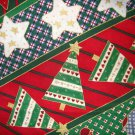 3/4 yard - Holiday stripes with trees, stars, stockings all over fabric