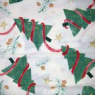 1 yard - Trees with ribbon and gold accents - off white fabric - Red, Green Gold