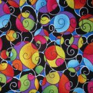 1.875 yards - Black with bright swirls all over fabric
