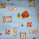 1 yard - Cabins and lodge themed items on blue fabric