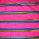 1 yard - Hotp ink stripe with lime green, bright blue and orange stripes