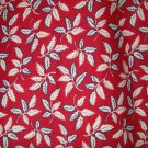 1 yard - Red with leaf design all over fabric - Red, Navy, off white