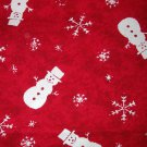 1 yard - Red fabric with white snowmen and flakes - Batik like look