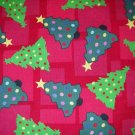 1.875 yards - Trees on red fabric - Trees with dots, multi colors, holiday