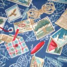 1.66 yards - Camping Themed flannel fabric - Blue, hiking, boots, tent, compass