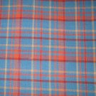 7/8 yard - Wedgewood blue and rust homespun plaid fabric