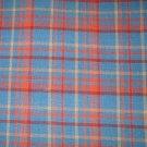 7/8 yard - Wedgewood blue and rust homespun plaid fabric