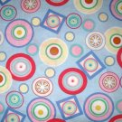 2.5 yards - Circles all over light blue fabric - Pink, yellow, green, blue, red