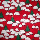 1 yard - Sheep all over red fabric with trees