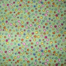 1 yard - Green fabric with bright dots all over