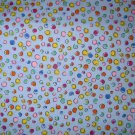 1.875 yards - Blue fabric with bright dots all over - Pink, orange, yellow, blue, green
