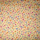 1.875 yards - Yellow fabric with bright dots all over - Pink, orange, yellow, blue, green