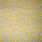 1.8 yard - Retro vintage reproduction flowers on pale yellow fabric