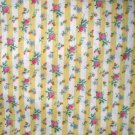 1 yard - Yellow stripe fabric with tiny roses - Shabby Chic print
