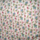 1 yard - Pink stripe fabric with tiny roses - Shabby Chic print