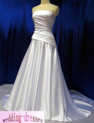 Factory Sample A-line Strapless Satin Wedding Dresses(PR036)