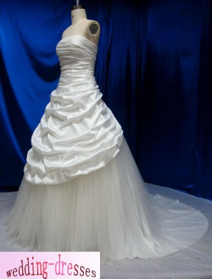 Factory Sample A-line Strapless Taffeta Wedding Dresses(PR104)