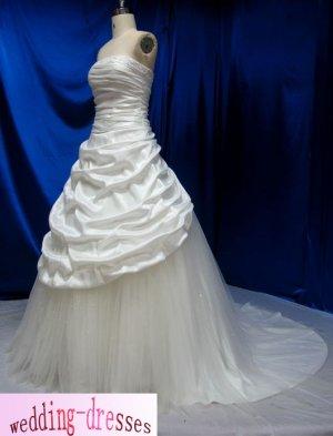 Factory Sample A-line Strapless Taffeta Wedding Dresses(PR104)