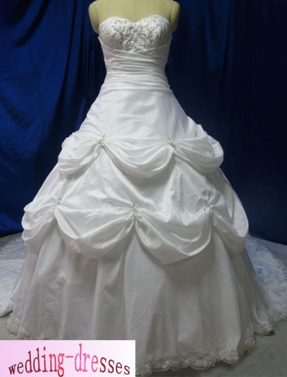 Factory Sample A-line Strapless Taffeta Wedding Dresses(PR105)