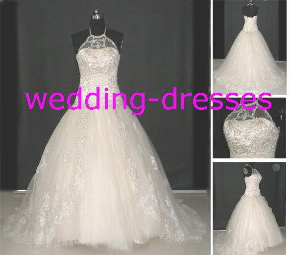 Sexy A-Line Beaded Halter Real Wedding Dress / Sample Picture Of Factory(WD579