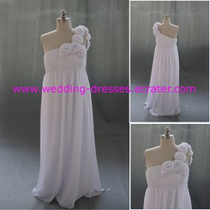 Fashion One Shoulder Custom Made Real Picture Maternity Wedding Dress/ Pregnant Dress(MD008)