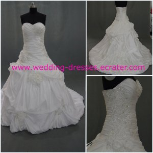 Hot Sales Sweetheart -neck Beadings Hand-flowers Custom-Made Real Picture Wedding Dress 2012(WD918)