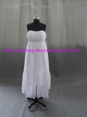 Elegant Strapless Chffion Short Front Long Back Real Picture Wedding Dress/Bridal Gown