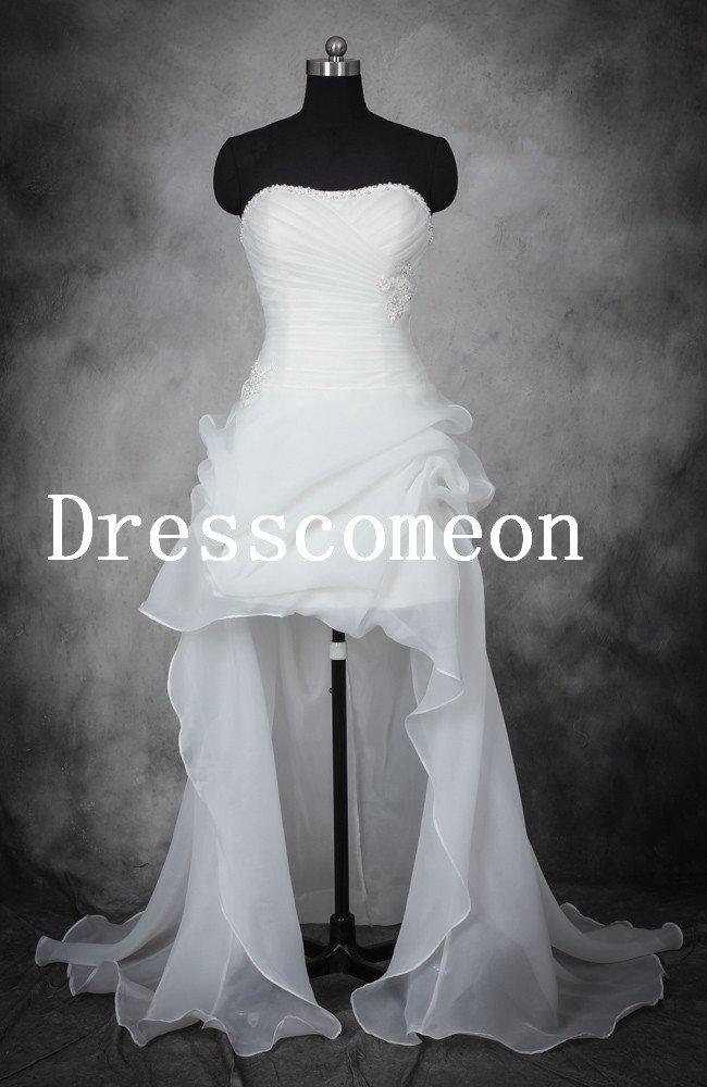High-low Hem Beach Wedding Dress bridal gown(MD011)