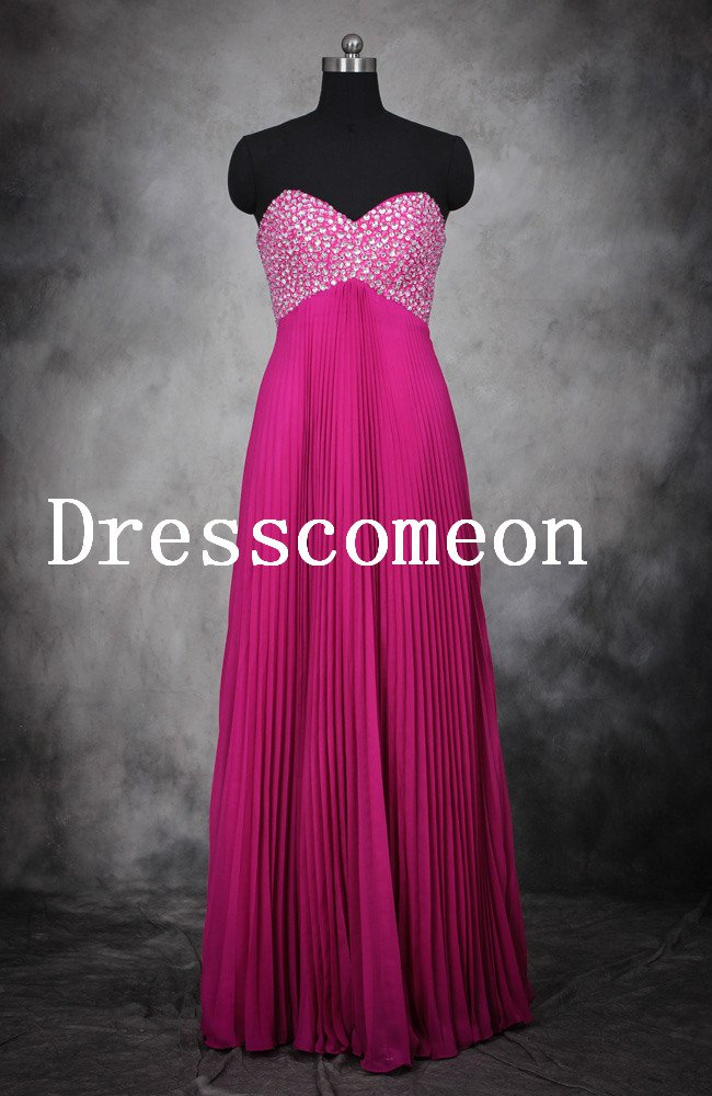 A Line Sweetheart Beading Floor Length Chiffon Prom Dresses(MD015)