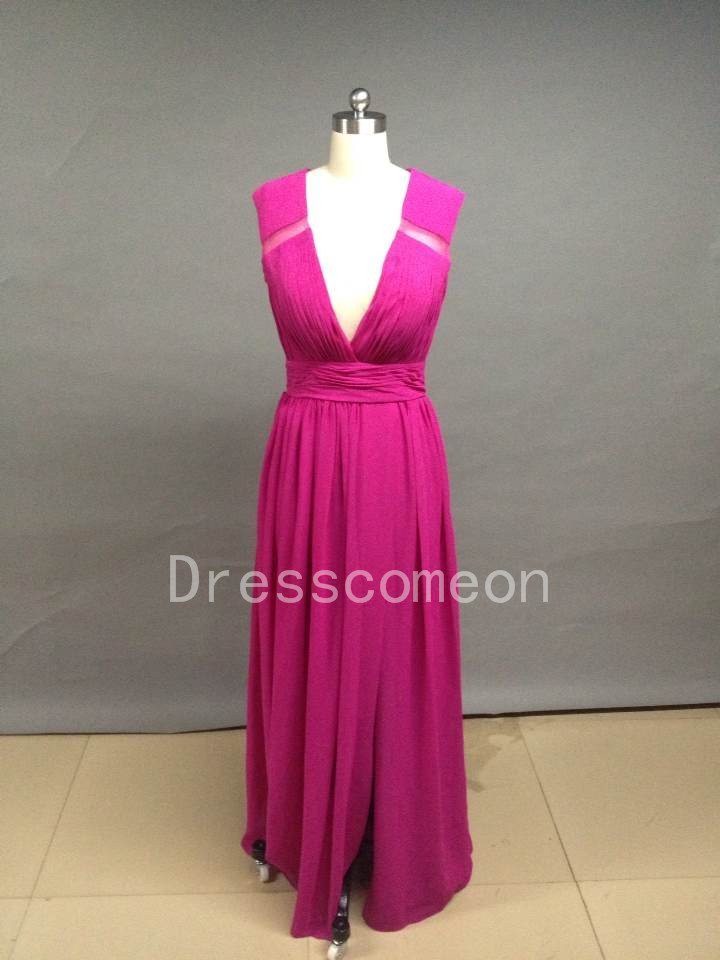 A Line V Neck Chiffon Prom Dresses/Bridemaid Dresses(MD026)