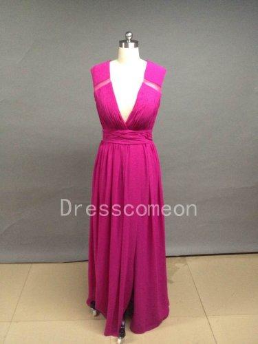 A Line V Neck Chiffon Prom Dresses/Bridemaid Dresses(MD026)