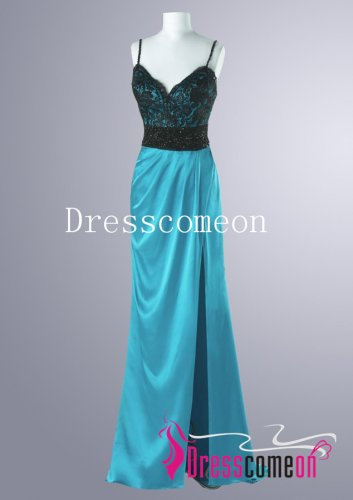 Sexy A-line Spaghettic Straps Floor Length Satin prom Dress/Evening Dress(MD041)