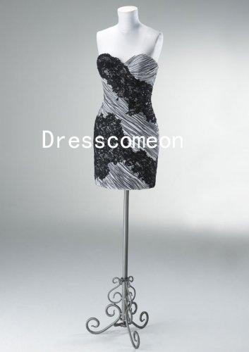 Sheath/Column Sweetheart Sleeveless Short/Mini Appliques Satin Cocktail Dress(MD046)
