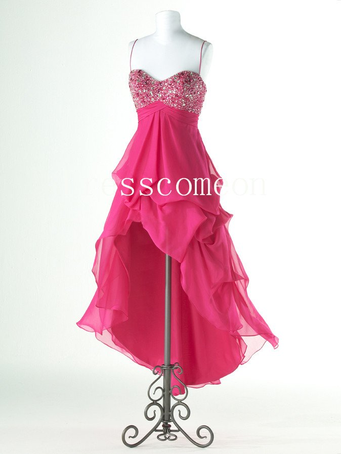 High-Low Spaghetti Straps Beading Sexy Prom Dress(MD053)