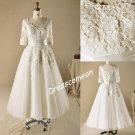 Plus size A-line Scoop Floor-length Half Sleeves Lace Tulle Wedding Dress(WD00112)