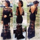 Sexy  Sheath Long Sleeves Black Lace Open Back Long Prom Dress,Mermaid Evening Dress(PD003)