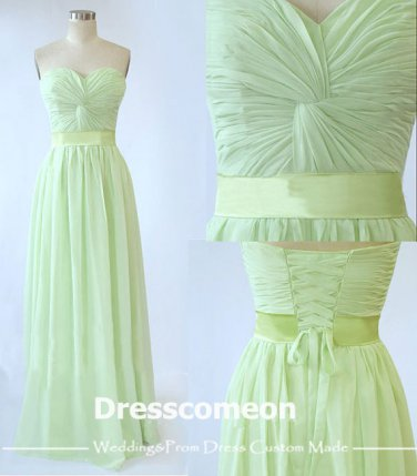 Elegant A-line Floor-length Sweetheart Lace-up Chiffon Bridesmaid Dress(BDMD004)
