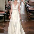 Custom Deep V-neck Cap Sleeves Lace Chiffon Beach Wedding Dress,See Through Wedding Gown,Prom Dress