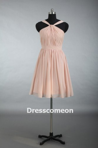 Junior Bridesmaid Dress, Knee Length Pearl Pink Cheap Chiffon Bridesmaid Dress