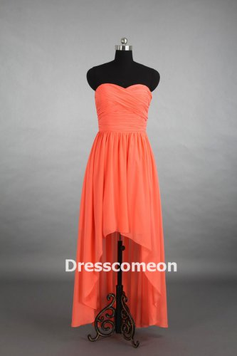 Custom Made Coral High-Low Sweetheart Bridesmaid Dress, Asymmetrical Bridesmaid Dress , Prom Dress